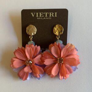 Orecchini con fiore rosa e lilla