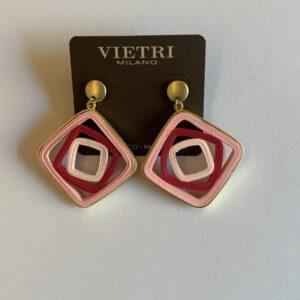 Orecchini pendenti quadrati sfumature di rosa